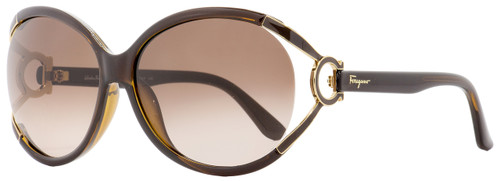 Salvatore Ferragamo Oval Sunglasses SF600S  220 Brown/Gold 61mm 600