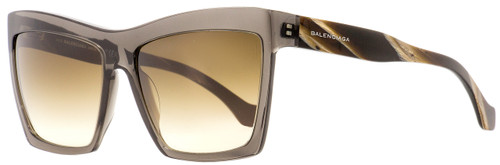 Balenciaga Square Sunglasses BA89 05G Transparent Gray/Horn 60mm BA089