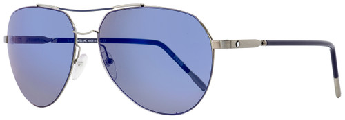 Montblanc Aviator Sunglasses MB695S 14X Ruthenium/Blue 60mm 695