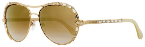 Roberto Cavalli Aviator Sunglasses RC975S Sulaphat 28G Gold/Ivory 59mm 975
