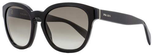 Prada Oval Sunglasses SPR17R 1AB-0A7 Shiny Black 53mm PR17RS