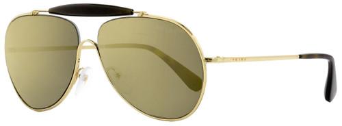 Prada Aviator Sunglasses SPR56S 5AK-4L0 Gold/Brown/Havana 59mm PR56SS