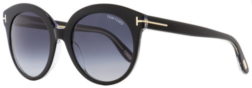 Tom Ford Oval Sunglasses TF429 Monica 03W Black/Clear 54mm FT0429