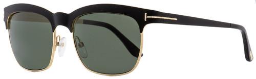 Tom Ford Rectangular Sunglasses TF437 Elena 05R Matte Black/Gold Polarized 54mm FT0437
