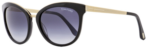 Tom Ford Oval Sunglasses TF461 Emma 05W Black/Iridescent Chalkstripe 56mm FT0461
