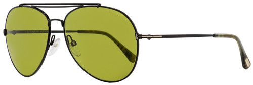 Tom Ford Aviator Sunglasses TF497 Indiana 01N Black/Green Havana 58mm FT0497