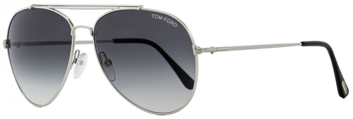 Tom Ford Aviator Sunglasses TF497 Indiana 18B Rhodium/Black 60mm FT0497