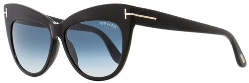 Tom Ford Cateye Sunglasses TF523 Nika 01W Shiny Black 56mm FT0523