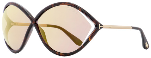 Tom Ford Butterfly Sunglasses TF528 Liora 52Z Dark Havana/Gold 70mm FT0528