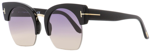 Tom Ford Oval Sunglasses TF552 Savannah-02 01B Black/Gold 55mm FT0552