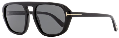 Tom Ford Rectangular Sunglasses TF634 David-02 01A Shiny Black 57mm FT0634