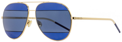 Dior Aviator Sunglasses Split2 000KU Gold/Dark Blue 53mm