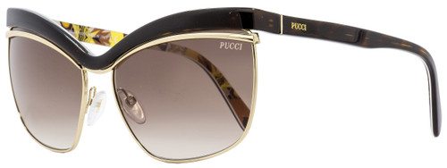 Emilio Pucci Oval Sunglasses EP0009 56F Dark Havana/Gold 61mm 9