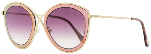 Tom Ford Cateye Sunglasses TF604 Sascha-02 77T Gold/Pink 55mm FT0604