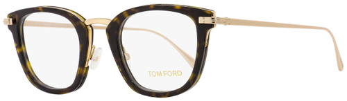 Tom Ford Square Eyeglasses TF5496 052 Gold/Dark Havana 47mm FT5496