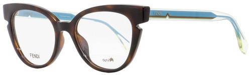 Fendi Cateye Eyeglasses FF0134 N9D Havana/Crystal/Blue 50mm 134
