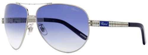 Chopard Aviator Sunglasses SCHB24S 0E70 Palladium/Blue 63mm B24