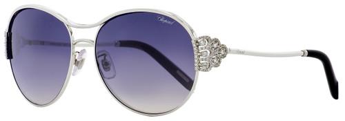 Chopard Oval Sunglasses SCHC02S 579X Palladium/Black 59mm C02