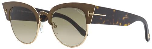 Tom Ford Cateye Sunglasses TF607 Alexandra-02 50K Matte Bronze/Havana 51mm FT0607
