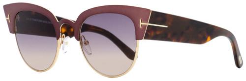Tom Ford Cateye Sunglasses TF607 Alexandra-02 74B Antique Rose/Vintage Havana 51mm FT0607