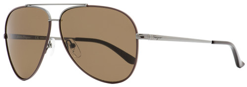 Salvatore Ferragamo Aviator Sunglasses SF131S 067 Gunmetal/Cocoa 60mm 131