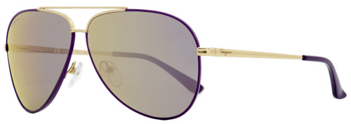 Salvatore Ferragamo Aviator Sunglasses SF131S 736 Light Gold/Purple 60mm 131