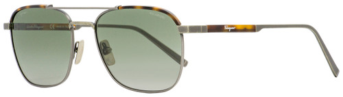 Salvatore Ferragamo Rectangular Sunglasses SF162SP 073 Antique Ruthenium/Tortoise Polarized 56mm 162