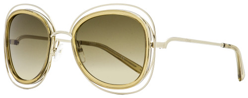 Chloe Oval Sunglasses CE123S 743 Gold/Transparent Brown 56mm 123