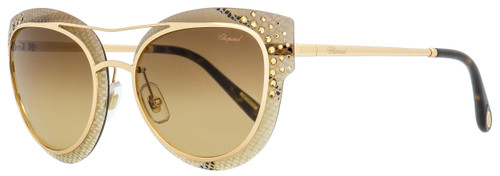 Chopard Oval Sunglasses SCHC42S 08FC Gold/Havna/Brown 65mm C42