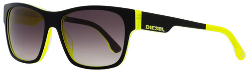 Diesel Rectangular Sunglasses DL0012 05B Black/Neon Yellow 57mm 12
