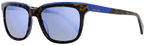 Diesel Rectangular Sunglasses DL0224 56X Havana/Blue 56mm 224
