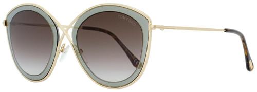 Tom Ford Cateye Sunglasses TF604 Sascha-02 50K Gold/Gray 55mm FT0604