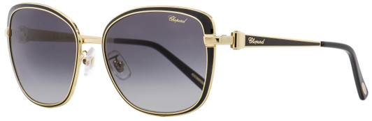 Chopard Womens SCH 086 S 0700 Sunglasses Black /& Gold Grey Gradient 56mm Italy