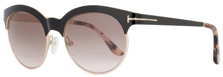 Tom Ford Oval Sunglasses TF438 Angela 01F Black/Gold/Havana FT0438