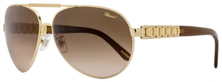Chopard Aviator Sunglasses SCHA63S 0H16 Rose Gold/Brown A63