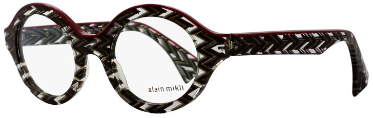 Alain Mikli Oval Eyeglasses A03020 4113 Size: 48mm Gray Zig-Zag/Red 3020