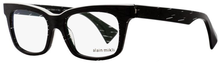 Alain Mikli Rectangular Eyeglasses A03021 C015 Size: 50mm Black Diamond/White 3021