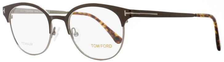 Tom Ford Oval Eyeglasses TF5382 009 Size: 50mm Ruthenium/Dark Brown/Havana FT5382