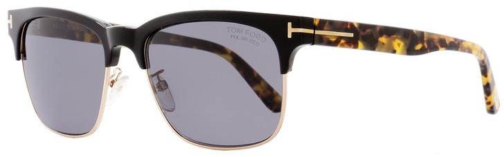 Tom Ford Rectangular Sunglasses TF386 Louis 01D Black/Tortoise/Gold Polarized FT0386