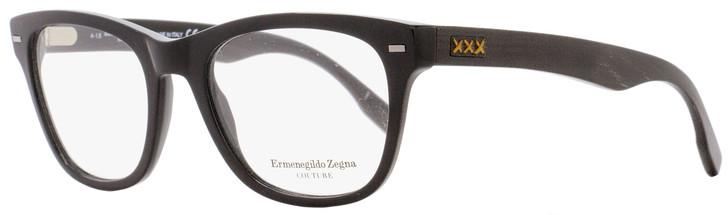 Ermenegildo Zegna Couture Rectangular Eyeglasses ZC5001 001 Size: 52mm Black/Ebony/Horn 5001