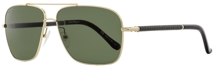Salvatore Ferragamo Rectangular Sunglasses SF145SL 717 Shiny Gold/Havana 145