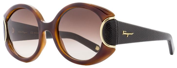Salvatore Ferragamo Round Sunglasses SF811SL 233 Havana/Black Leather 811
