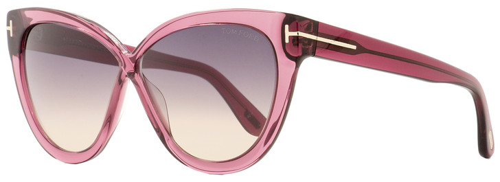 Tom Ford Butterfly Sunglasses TF511 Arabella 69B Transparent Bordeaux 59mm FT0511