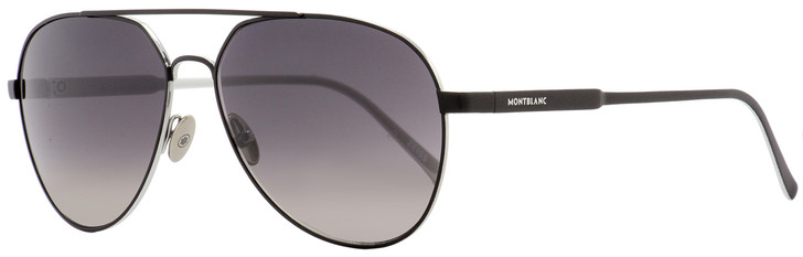 Montblanc Aviator Sunglasses MB644S 02B Matte Black/Palladium 60mm 644