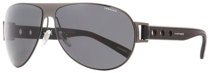 Chopard Wrap Sunglasses SCHB83 627P Gunmetal/Black Polarized 65mm B83