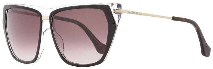 Balenciaga Square Sunglasses BA105 05T Black/Clear/Gold 58mm BA0105