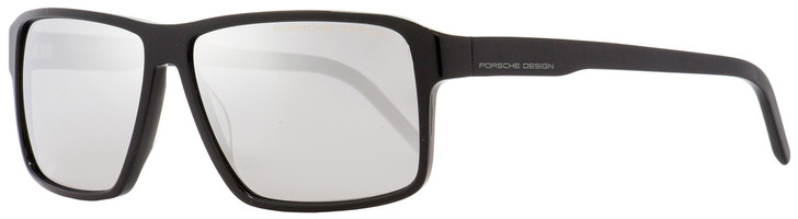Porsche Design Rectangular Sunglasses P8634 A Shiny Black 58mm 8634
