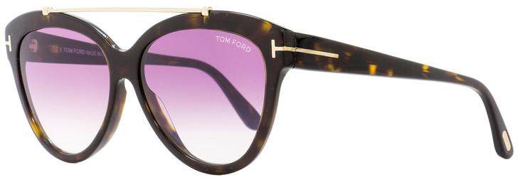 Tom Ford Butterfly Sunglasses TF518 Livia 52Z Dark Havana/Gold 58mm FT0518