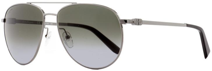 Salvatore Ferragamo Aviator Sunglasses SF157S 069 Ruthenium/Black 60mm 157