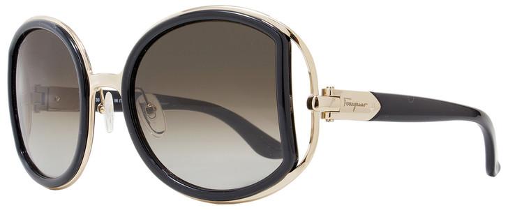 Salvatore Ferragamo Round Sunglasses SF719S 001 Black/Gold 52mm 719